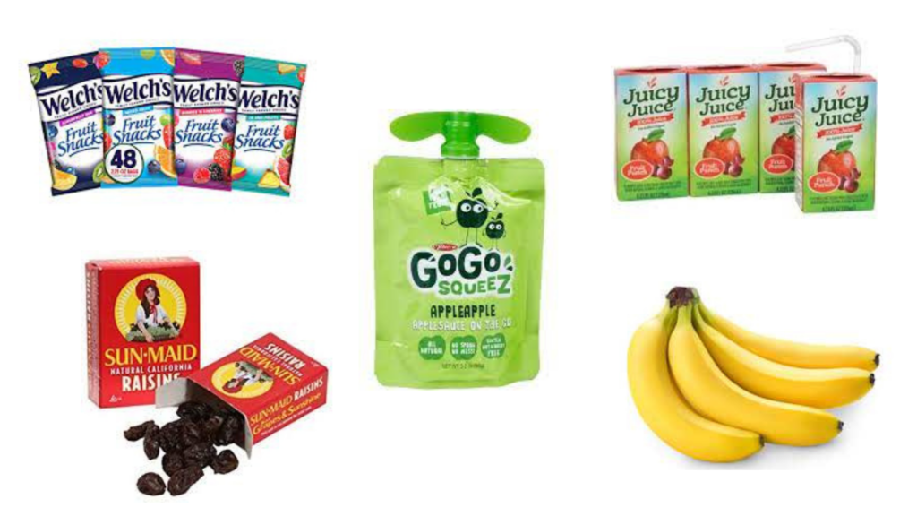 Applesauce pouches, Raisins, Juice boxes, Fruit snacks, Bananas packaged snacks for diabetes
