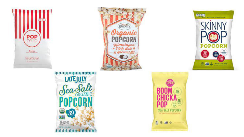 SkinnyPop Original Popcorn, Store brand popcorn, Angie's Boom Chicka Pop Sea Salt Popcorn, Late July Original Sea Salt Popcorn, Pop Zero Cinema Popcorn packaged snacks for diabetes