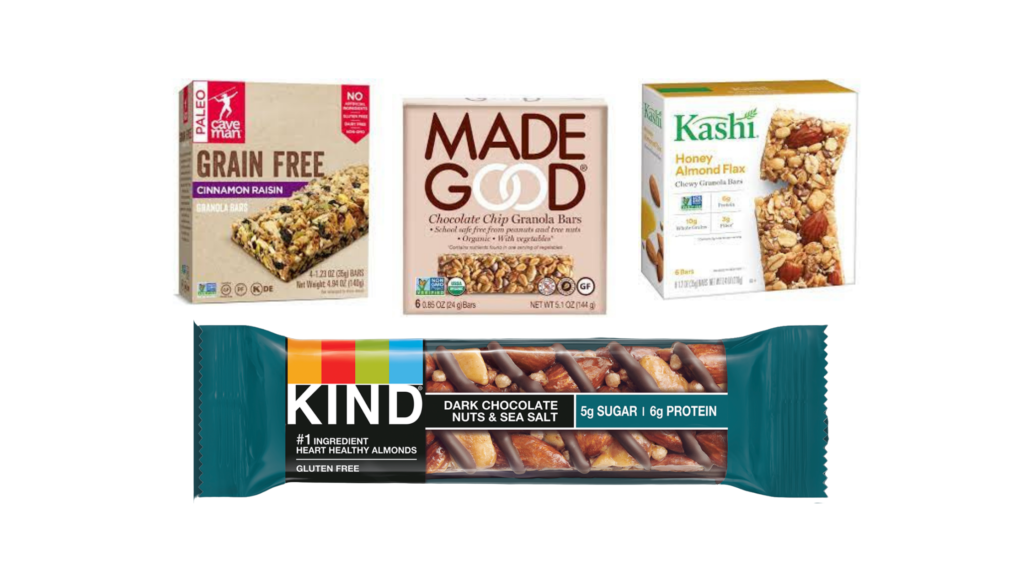 KIND Nuts and Spices Bars, MadeGood Chocolate Chip Granola Bars and Bites, Kashi Chewy Granola Bars, CaveMan Grain Free Granola Bars protein bars for diabetes
