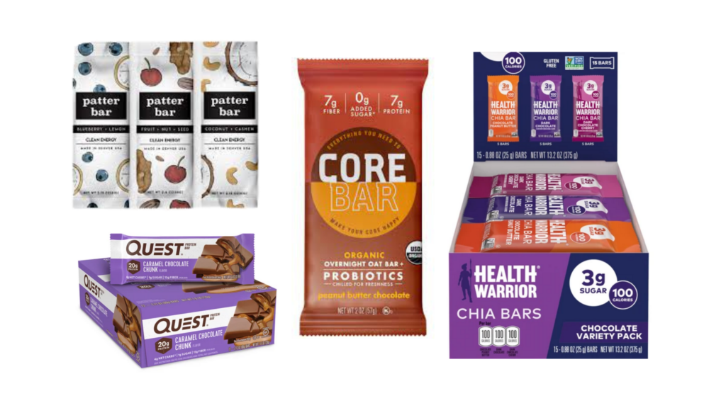 Health Warrior Chia Bars, Patter Bars, CORE Bars, Quest bars protein bars for diabetes