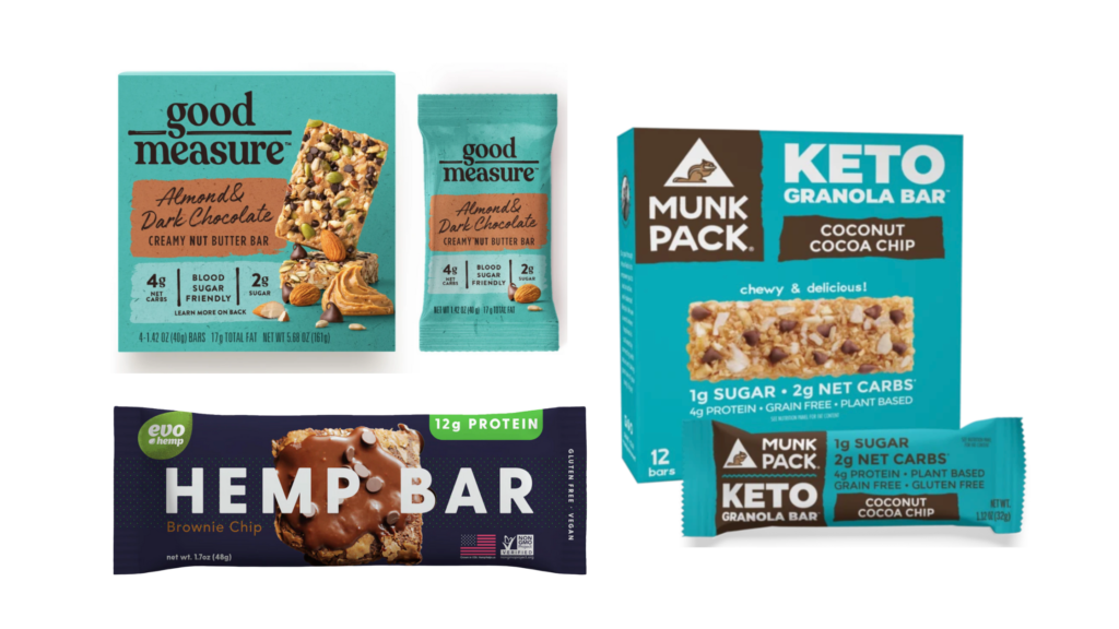 MunkPack KETO granola bars, GoodMeasure bars, Evo Hemp Hemp Bars protein bars for diabetes