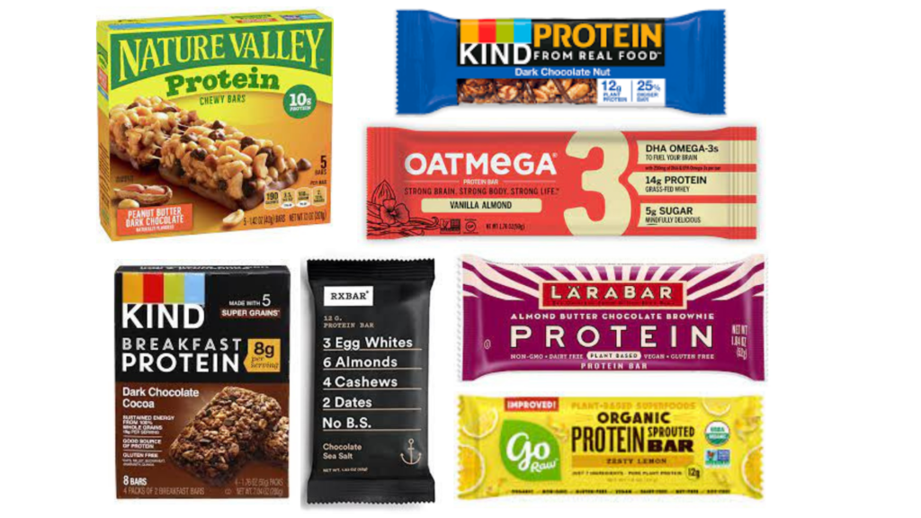 KIND Protein Bars, Oatmega Protein Bars, RXBar Chocolate Sea Salt Bar, KIND Breakfast Protein Bars, Nature Valley Protein Chewy Bars, Larabar Protein Bars, GoRaw Protein Bars best protein bars for diabetes