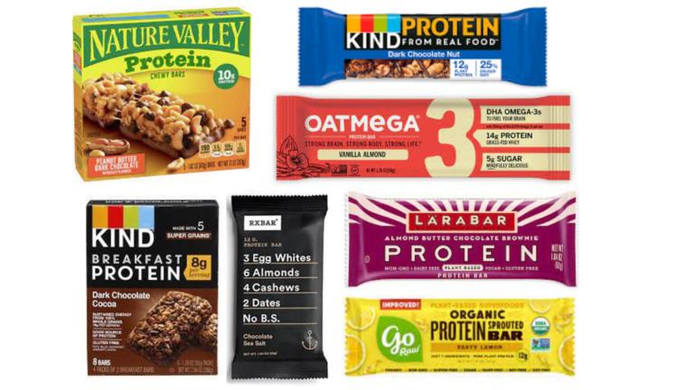KIND Protein Bars, Oatmega Protein Bars, RXBar Chocolate Sea Salt Bar, KIND Breakfast Protein Bars, Nature Valley Protein Chewy Bars, Larabar Protein Bars, GoRaw Protein Bars best protein bars for diabetes