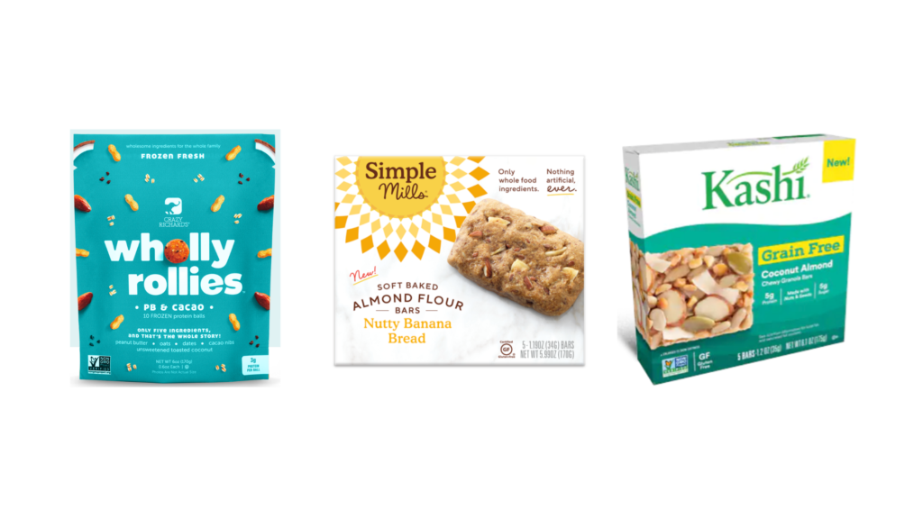 Simple Mills Soft Baked Bars, Crazy Richards Peanut Butter Wholly Rollies Protein Balls, Kashi GrainFree Bars protein bars for diabetes
