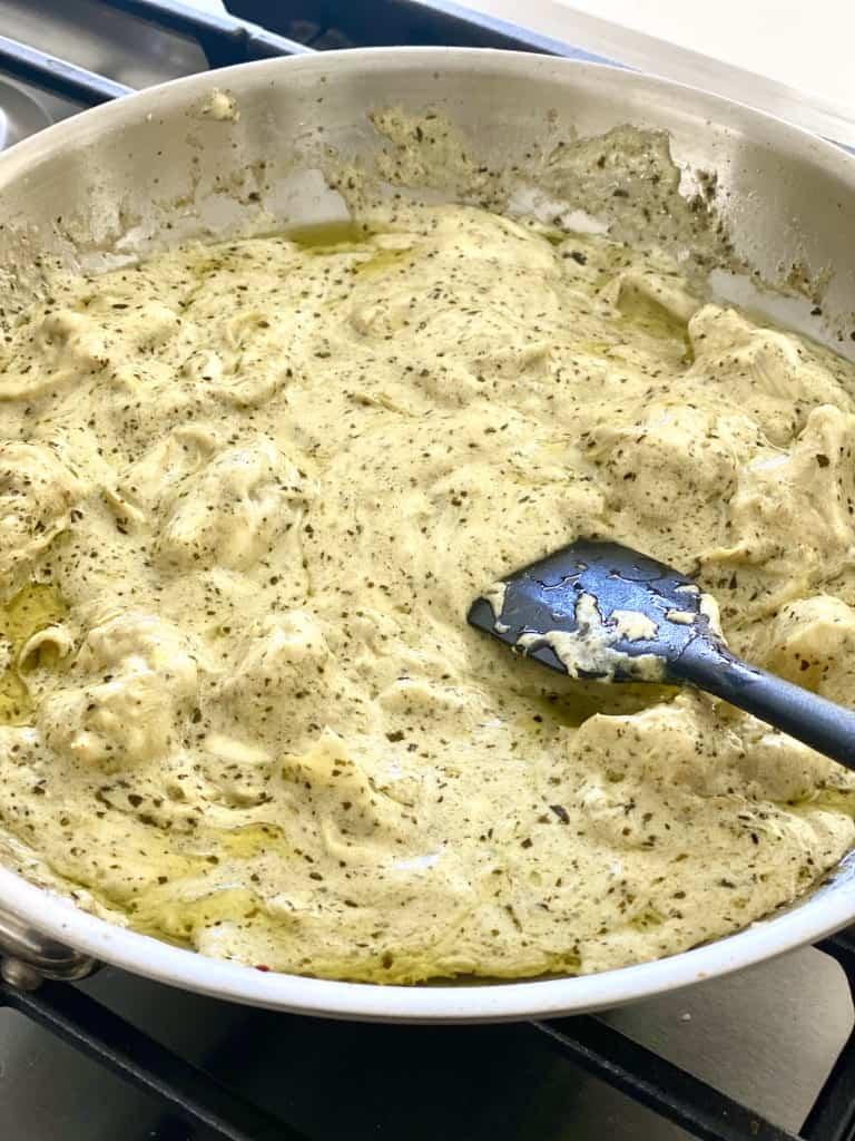 creamy artichoke pesto pasta sauce