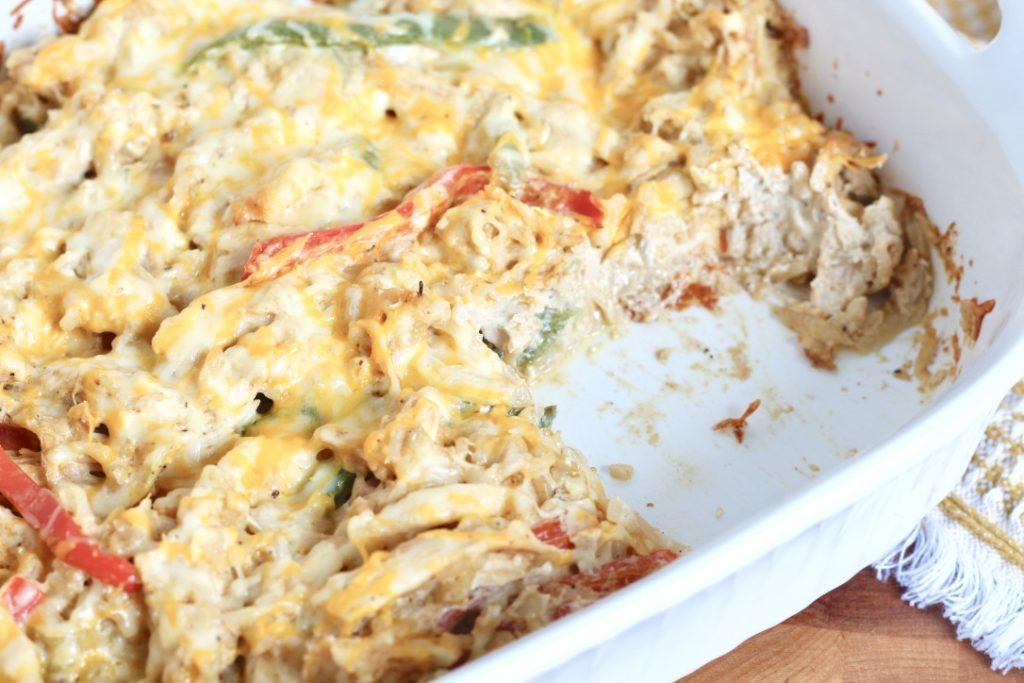 chicken fajita casserole in white dish