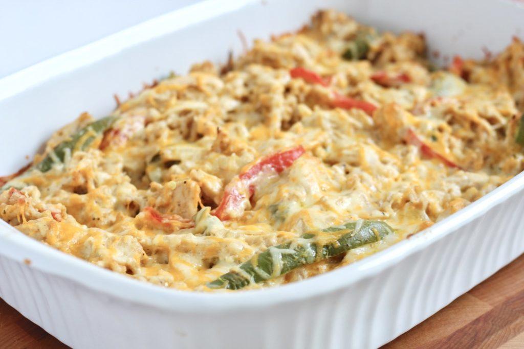 chicken fajita casserole and cheddar cheese