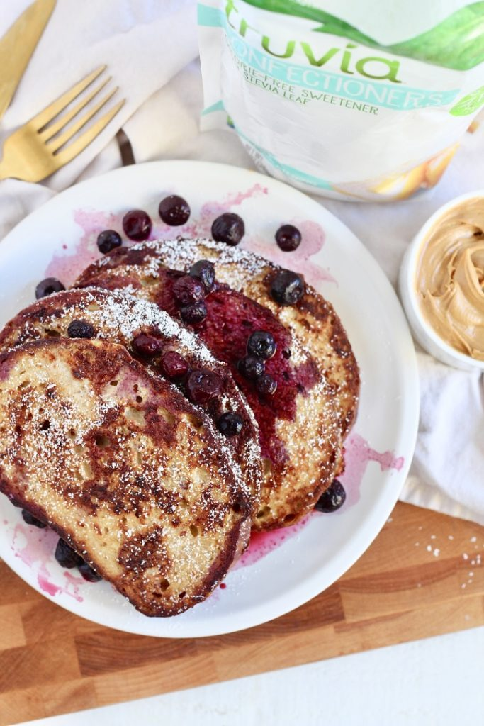 sourdough french toast with peanut butter blueberries and truvia