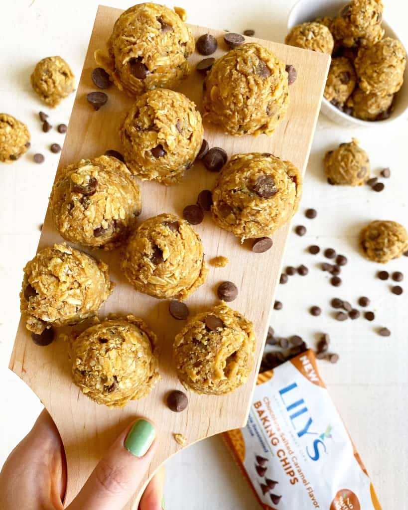 oatmeal chocolate protein balls made with lilys chocolate chips