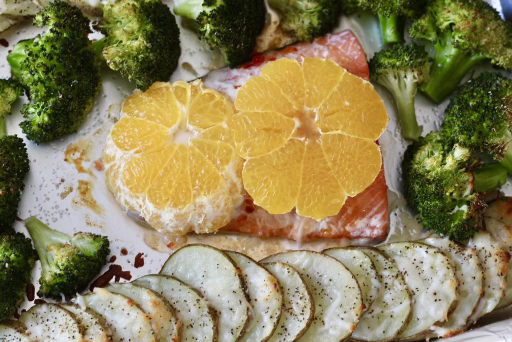 salmon with sump mandarins broccoli potatoes for one pan salmon and veggies