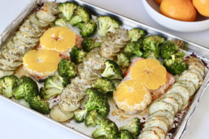 sheet pan one pan salmon and veggies with sumo mandarin