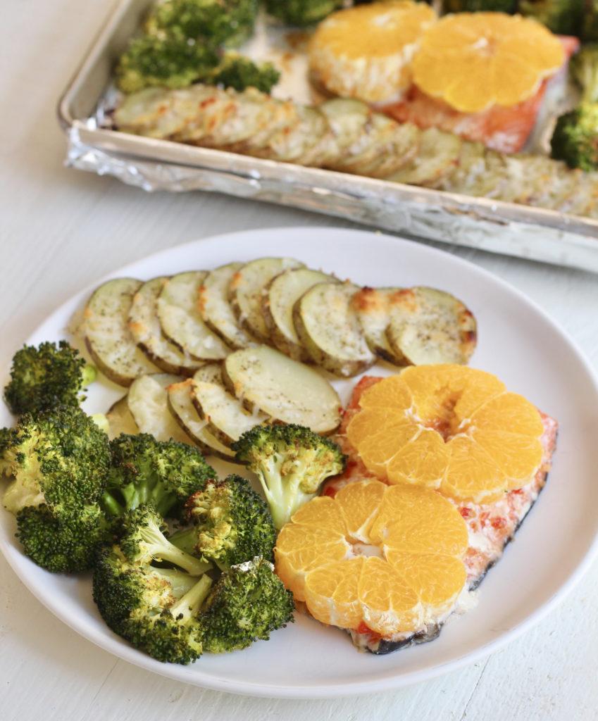 citrus salmon with broccoli and potatoes one pan salmon and veggies