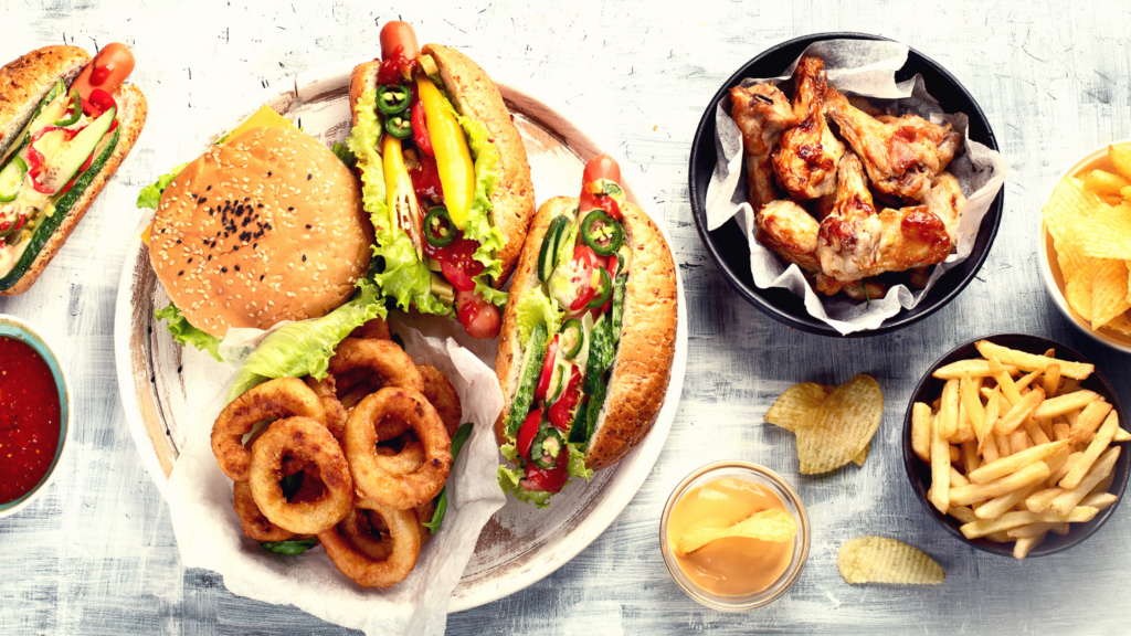 hamburger, onion rings, chicken drumsticks fast food for diabetes