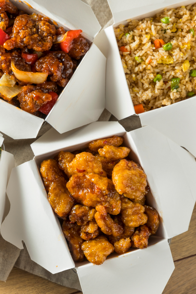 three boxes of takeout chinese food fast food for diabetes