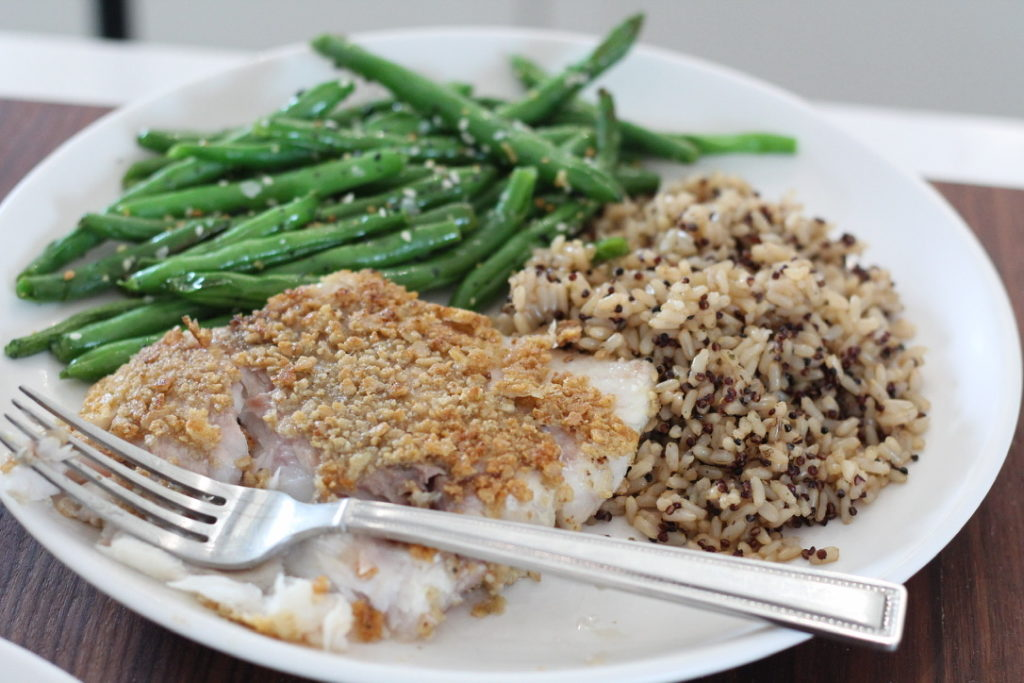 breaded cod rice green beans