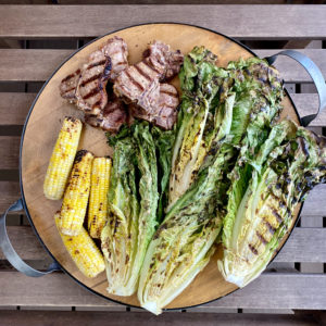 grilled lamb loin chops grilled romaine and grilled corn on the cob