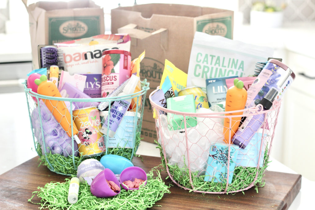 healthy easter baskets with sprouts farmers market paper bag