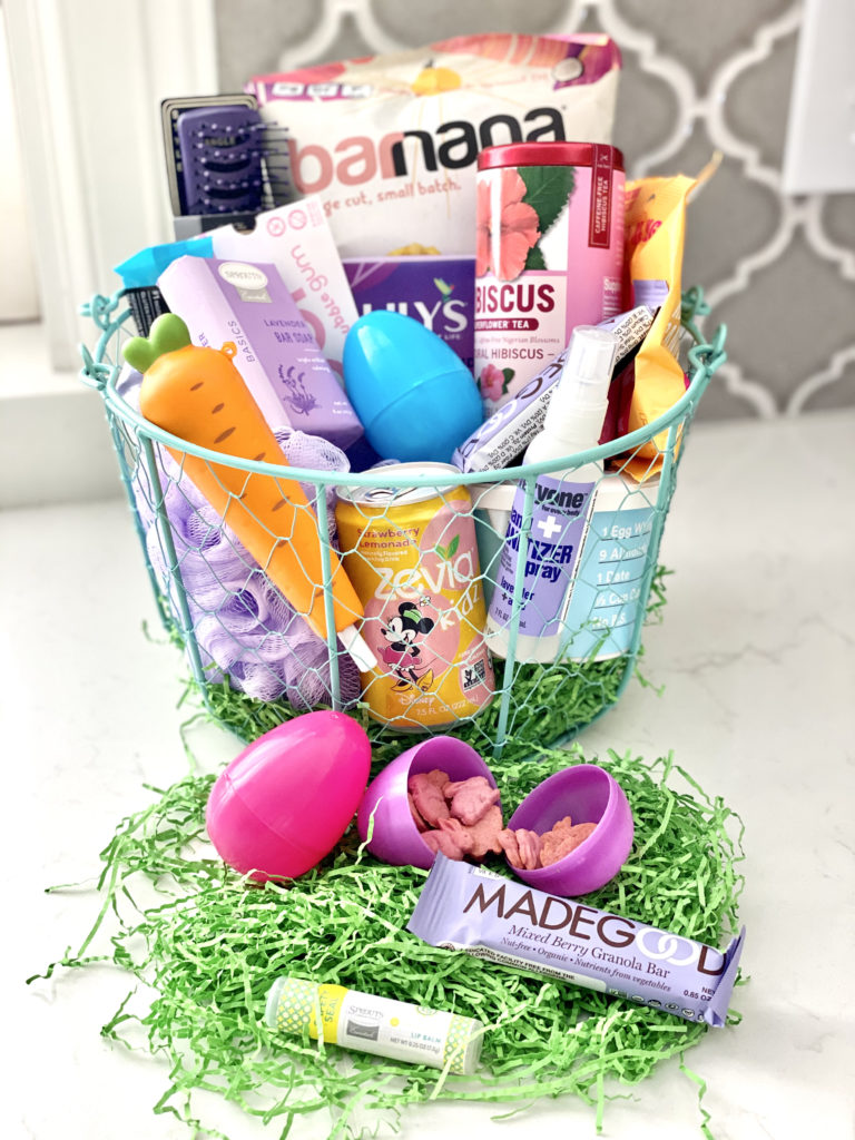 easter basket on kitchen counter