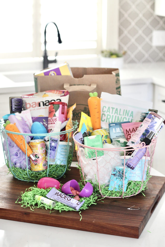 healthy easter basket in kitchen