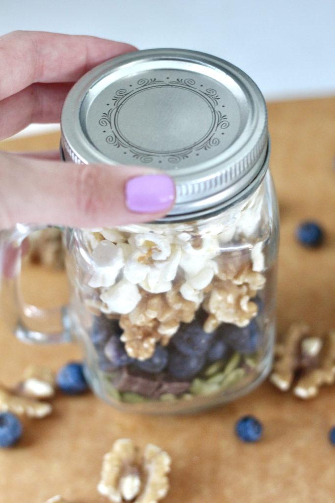 homemade trail mix in mason jar