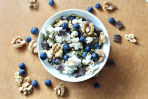 homemade trail mix with blueberries and walnuts