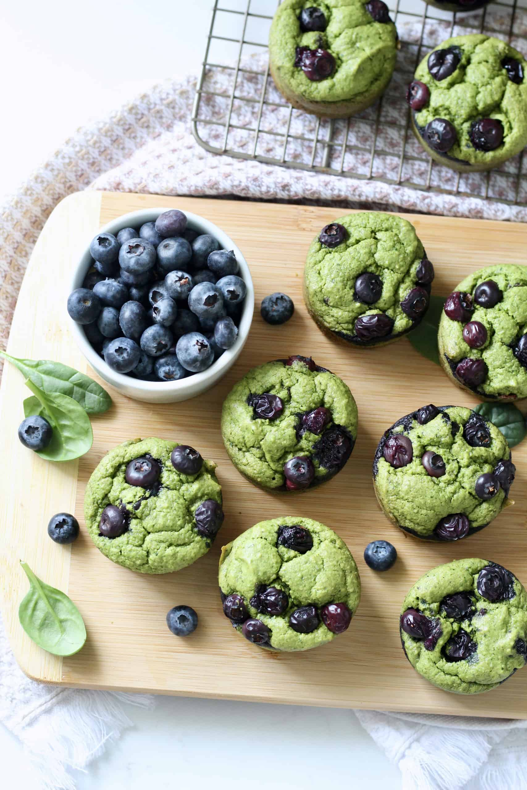 spinach blender muffins with blueberries