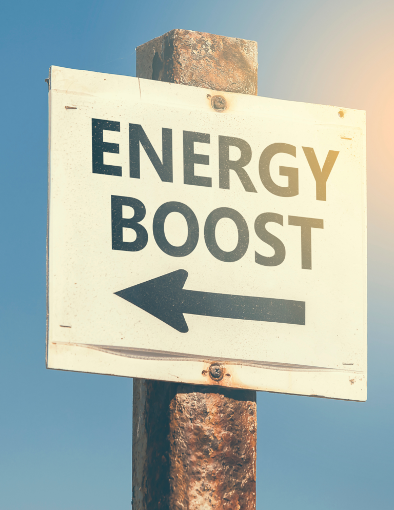 sign reading energy boost with arrow