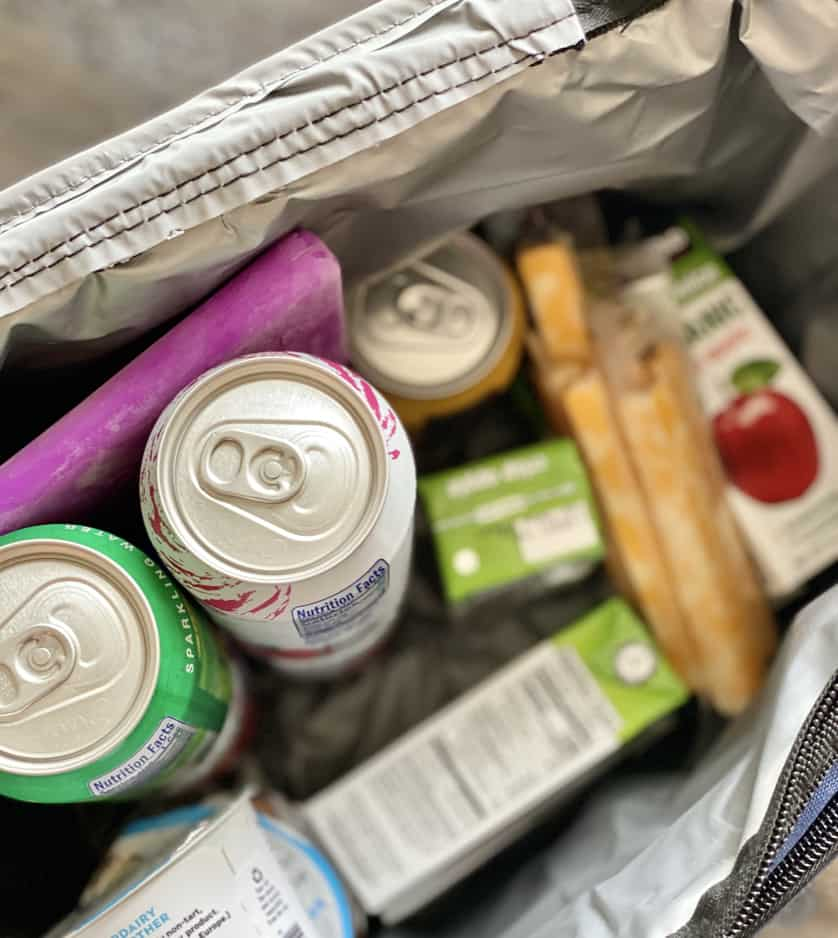 cooler packed with on the go diabetes snacks for roadtrip