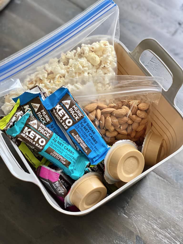 bucket of on the go diabetes snacks munkpack keto granola bars