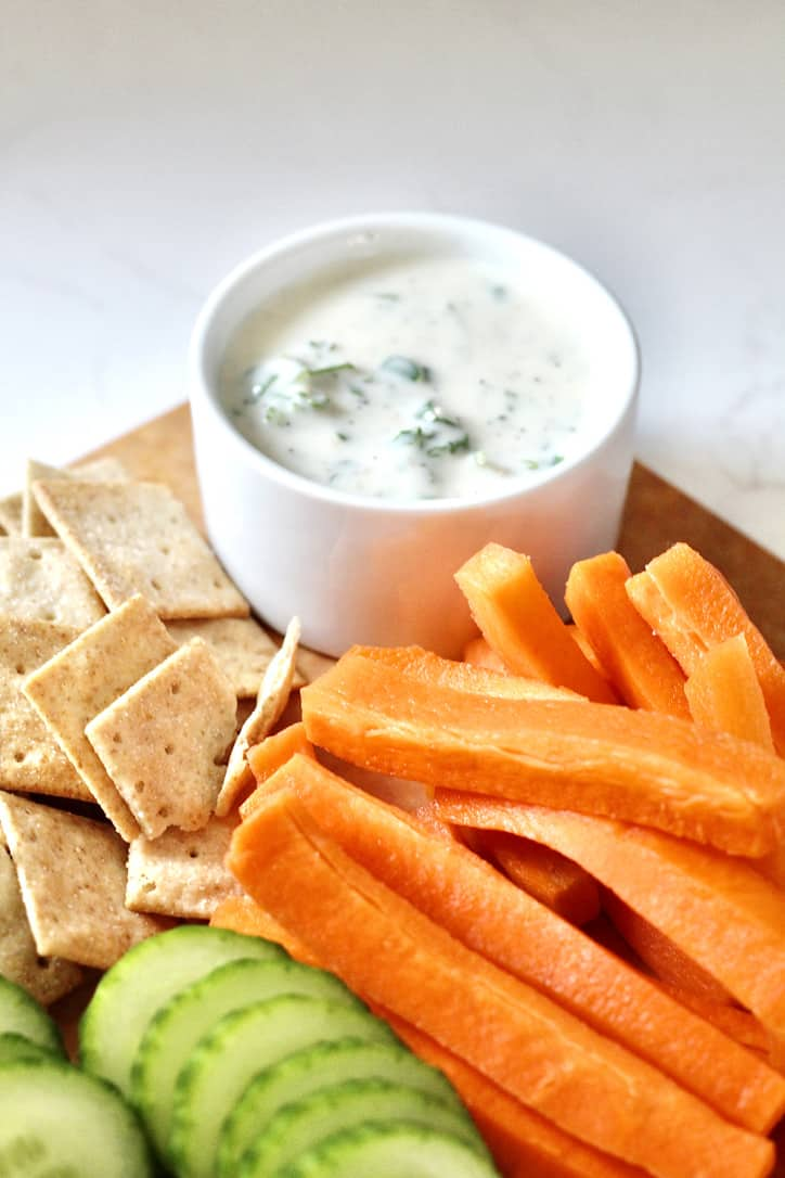 garli aioli with carrot sticks and cucumber slices