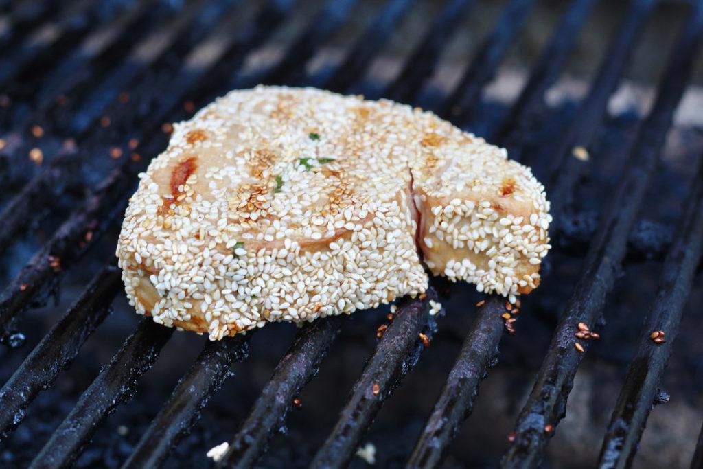 ahi tuna steak on grill