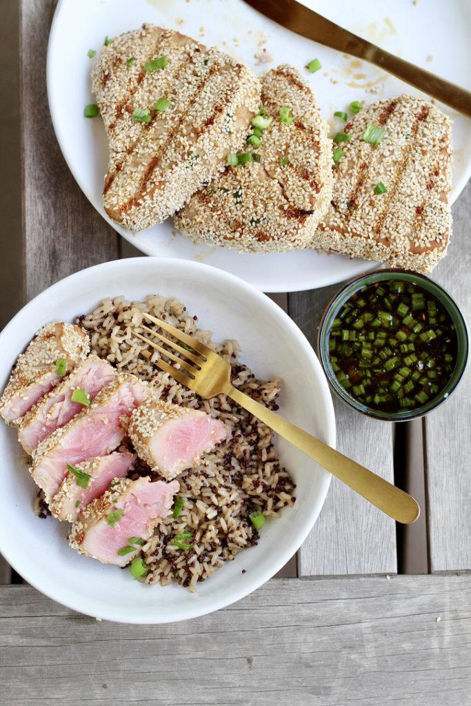 grilled ahi tuna steaks on plate