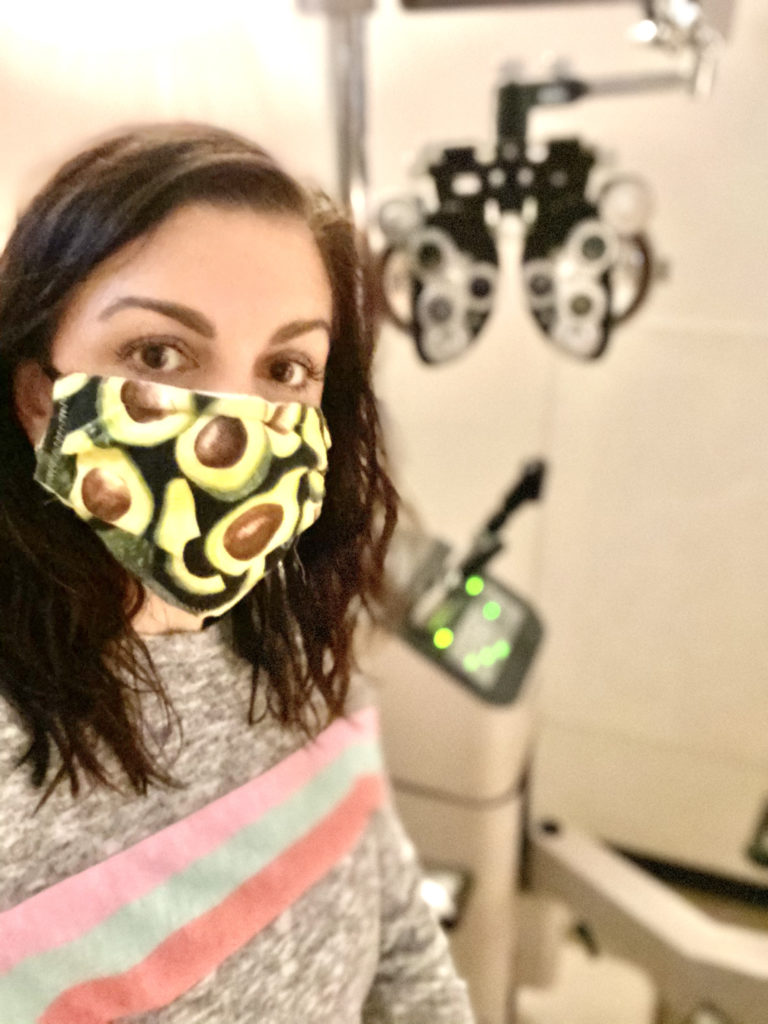 woman with avocado face mask on for routine eye exam for diabetes