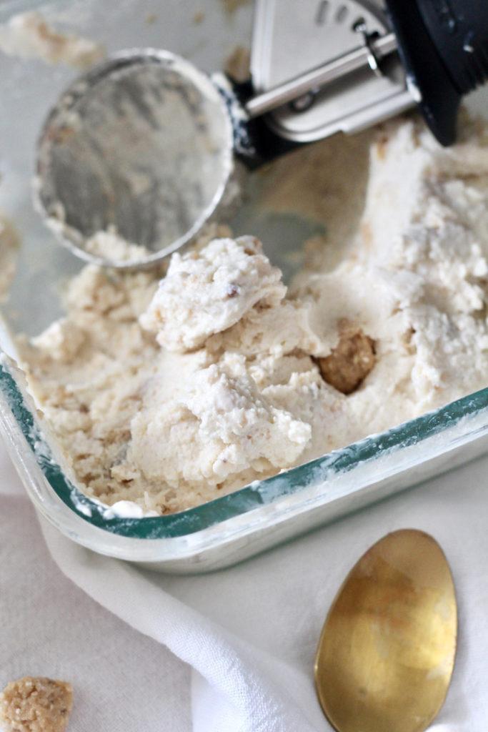 ice cream scoop in dish of homemade low carb frozen yogurt