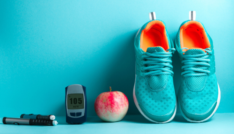 blood sugar meter apple and shoes for exercise and diabetes