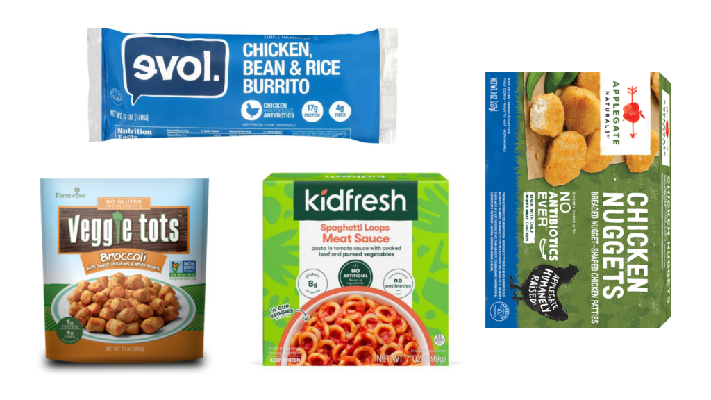 diabetes friendly kids meals kid fresh spaghetti, evol bean and rice burrito, farm wise veggie tots, applegate chicken nuggets