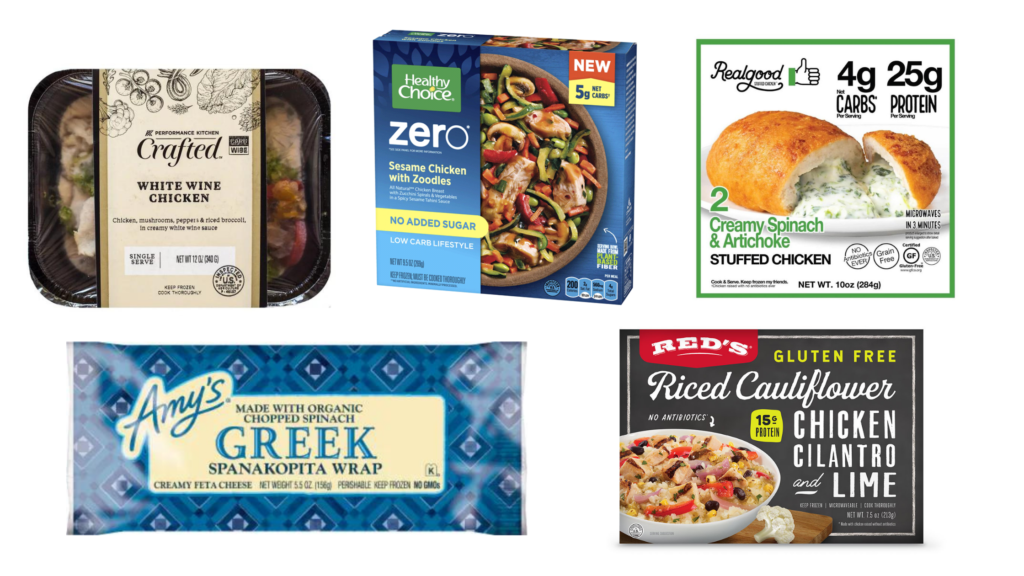 diabetes friendly low carb frozen meals performance kitchen carb wise meals, lean cuisine power bowl, amy's greek spanakopota wrap, red's cauliflower rice bowl, real good foods stuffed chicken
