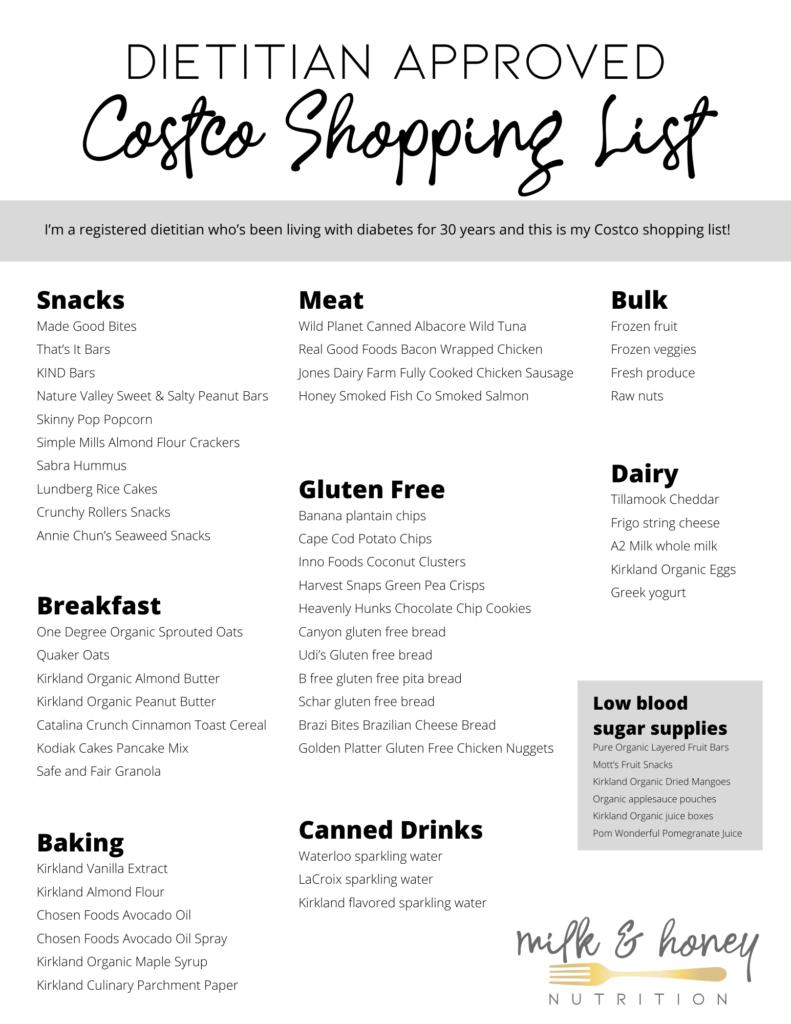 diabetes costco shopping list download