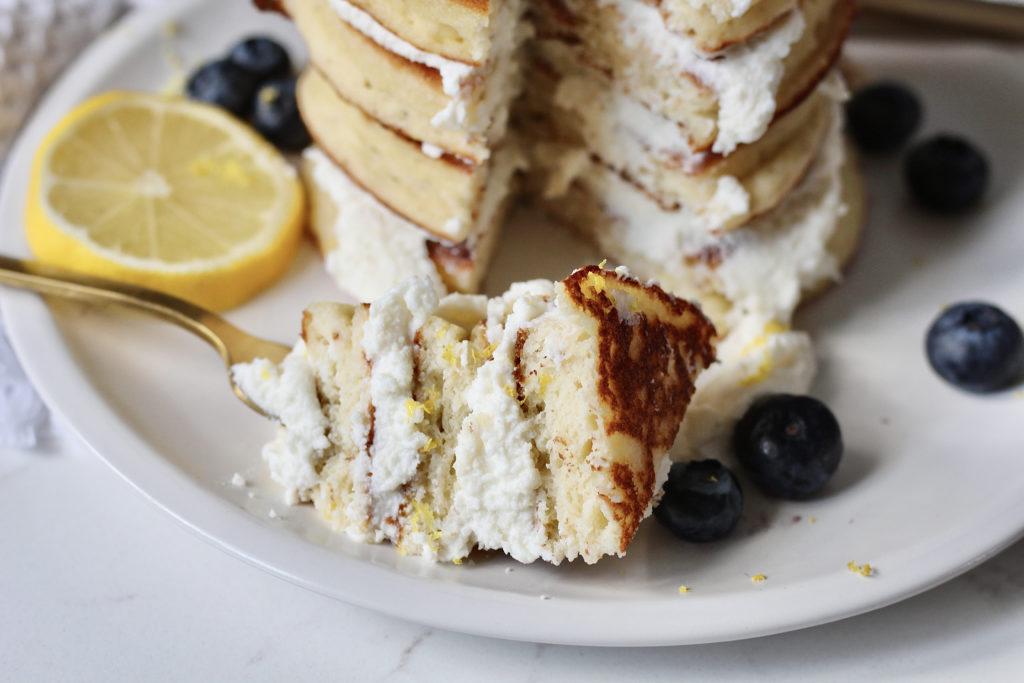 lemon ricotta pancakes gold fork lemon slice