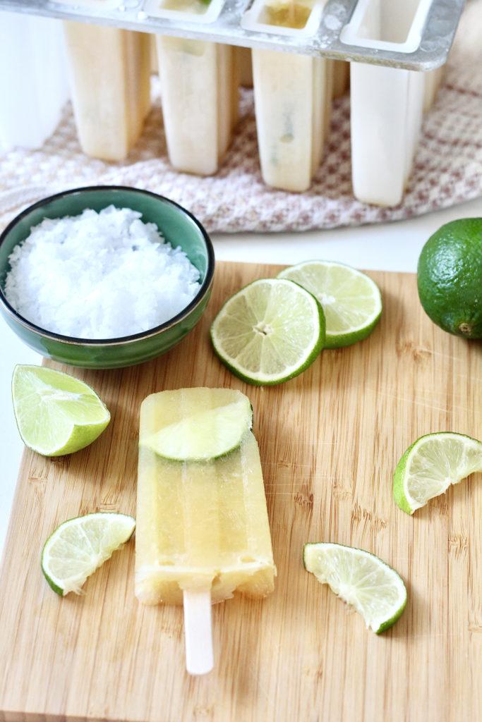margarita popsicle low sugar sea salt lime wedges