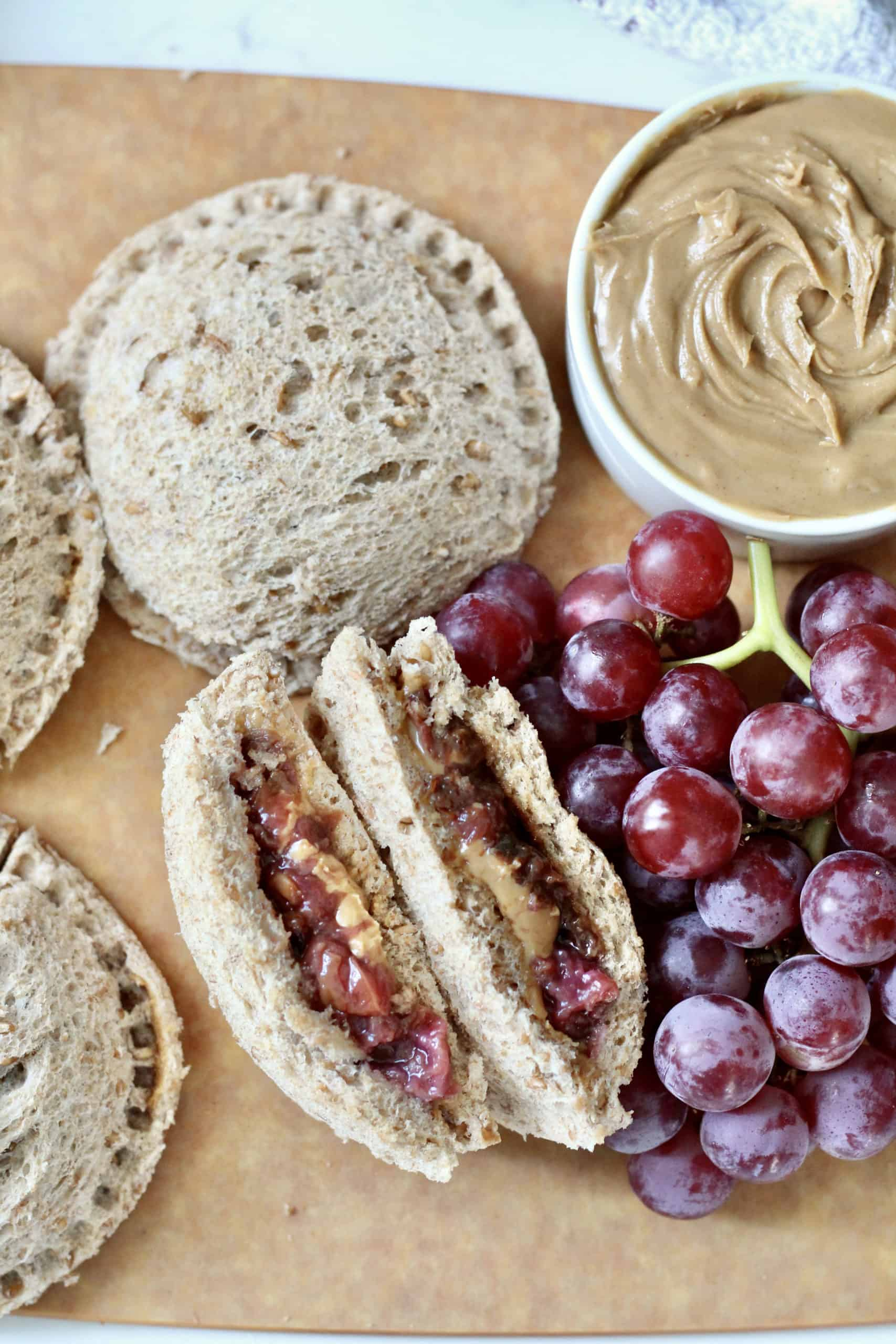 california grapes and peanut butter with homemade uncrustables