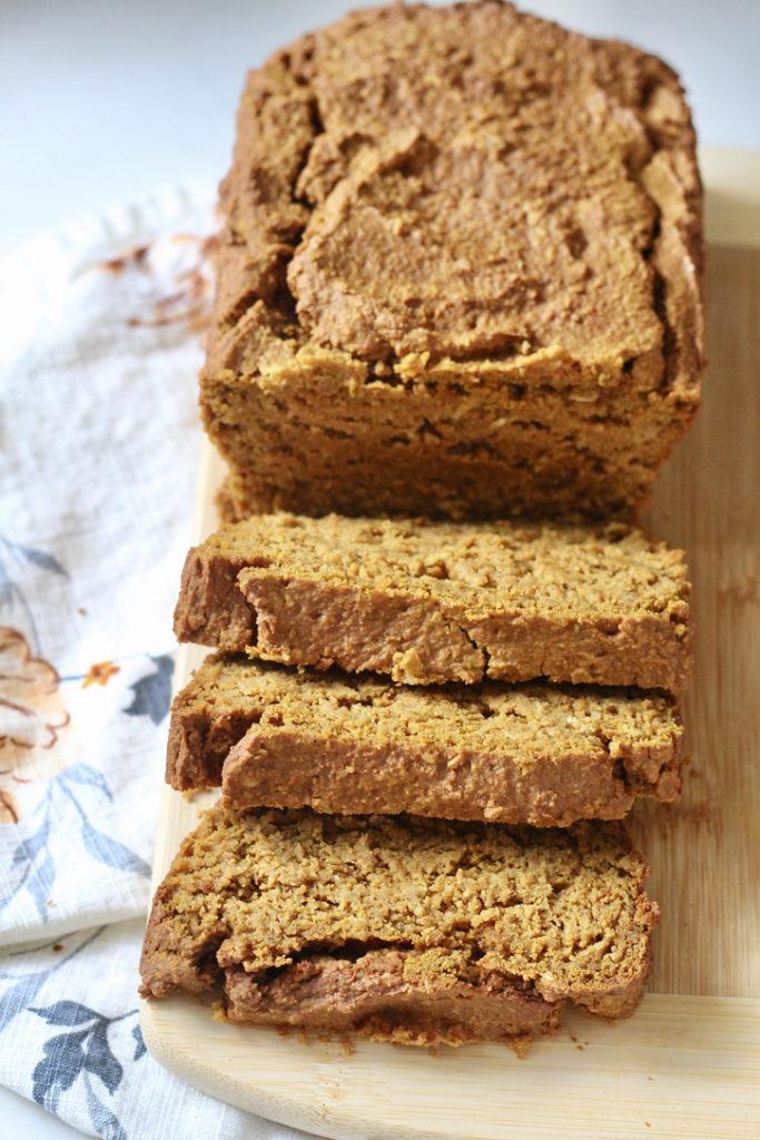 sliced gluten free pumpkin bread low carb pumpkin bread