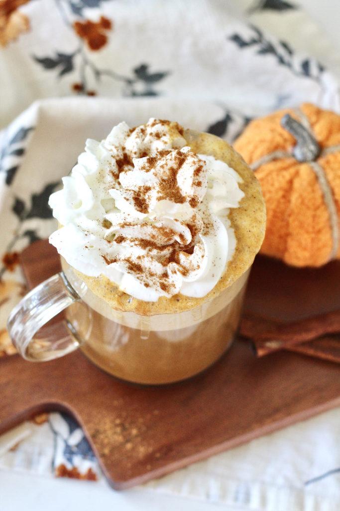 healthy pumpkin spice latte in glass mug