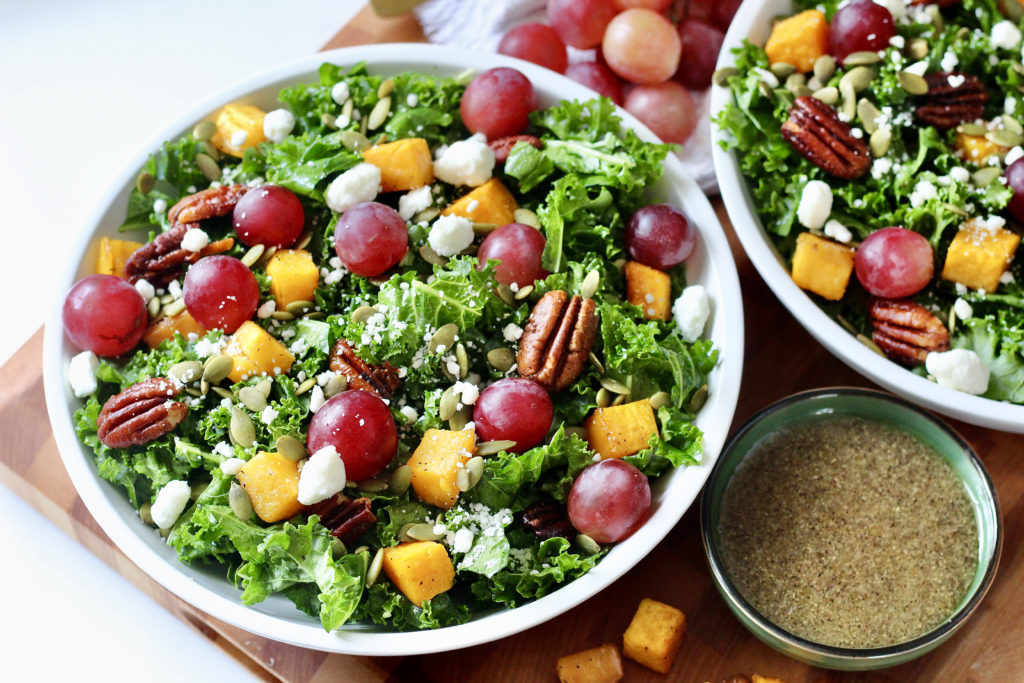maple apple cider vinaigrette and fall harvest salad with grapes pecans and butternut squash